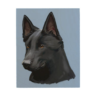 Black German Shepherd Dog Wood Canvases