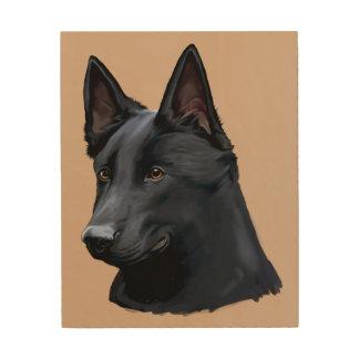Black German Shepherd Dog Wood Print