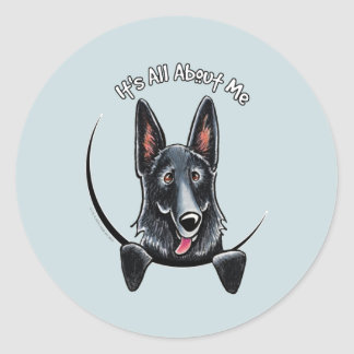 Black German Shepherd IAAM Round Sticker