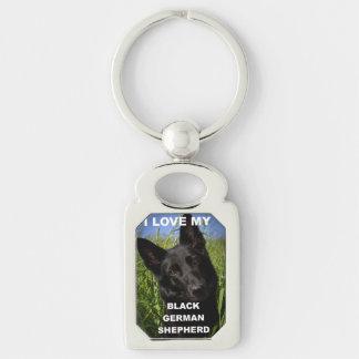 black german shepherd love w pic Silver-Colored rectangle key ring