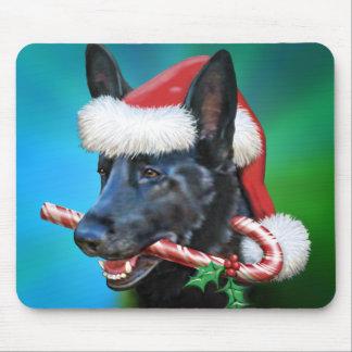 Black German Shepherd Santa Mousepads
