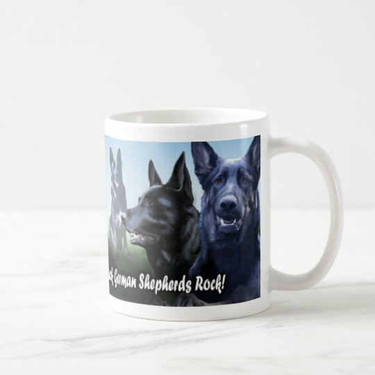 Black german Shepherds Rock Coffee Mug