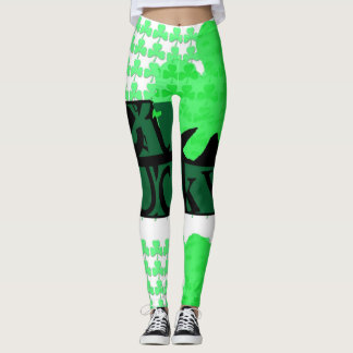 Black Get Lucky Clover St Patrick Leggings