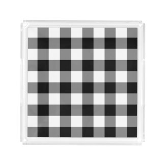 Black Gingham Acrylic Tray