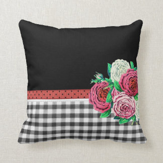 Black Gingham and flowers Cushion
