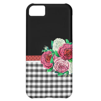 Black Gingham and flowers iPhone 5C Case