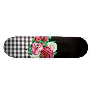 Black Gingham and flowers Custom Skateboard