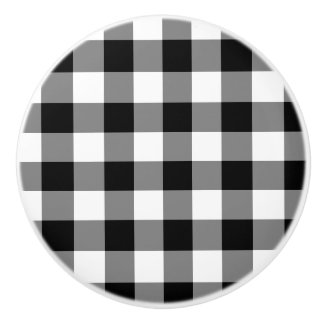 Black Gingham Ceramic Knob