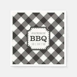 Black Gingham Checkered Pattern Paper Napkin