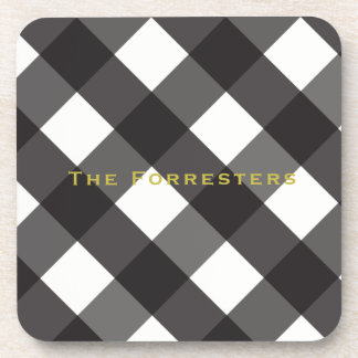 Black Gingham Drink Coasters (6)