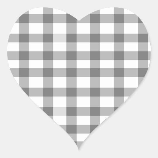 Black Gingham Heart Sticker
