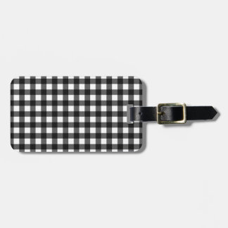 Black gingham luggage tag