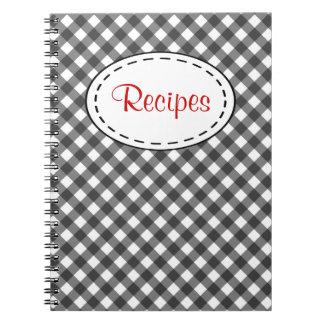 Black Gingham Recipe Notebook
