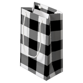 Black Gingham Small Gift Bag