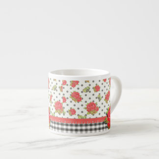 Black Gingham with red roses & dots Espresso Cup