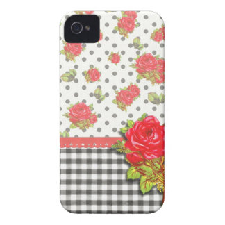 Black Gingham with red roses & dots iPhone 4 Case-Mate Cases