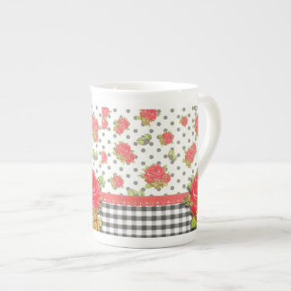 Black Gingham with red roses & dots Tea Cup