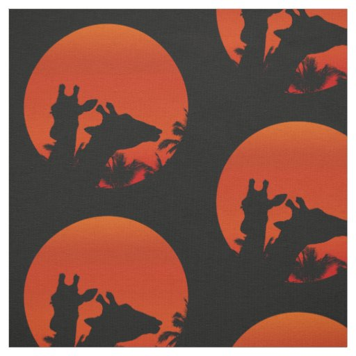 Black Giraffes Silhouettes Sun Sunset In Africa Fabric