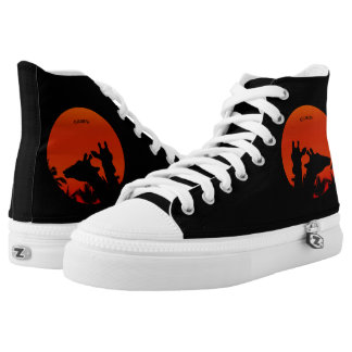 Black Giraffes Silhouettes Sun Sunset In Africa Printed Shoes