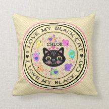Black Girl Cat Lover's Kitty Art Throw Pillow