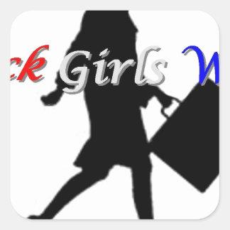Black Girls Work Square Stickers