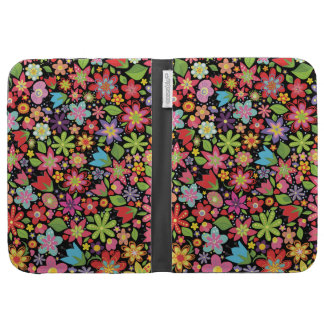 Black Girly Spring Flowers Kindle Caseable Case Kindle 3G Cases