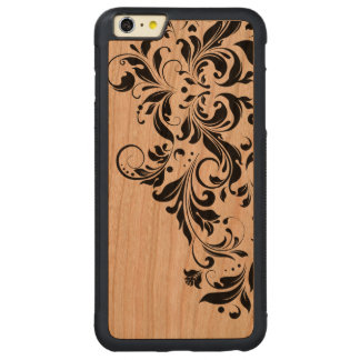 Black Girly Swirly Floral Lace Carved® Cherry iPhone 6 Plus Bumper Case