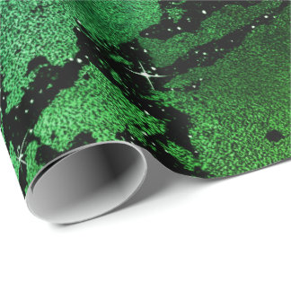 Black Glam Marble Abstract Tropical Metallic Glass Wrapping Paper