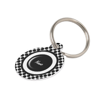 Black glass button dot design pet ID tag