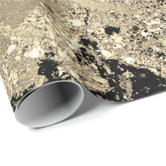Black Glitter Gold Marble Glam Abstract Metallic Wrapping Paper