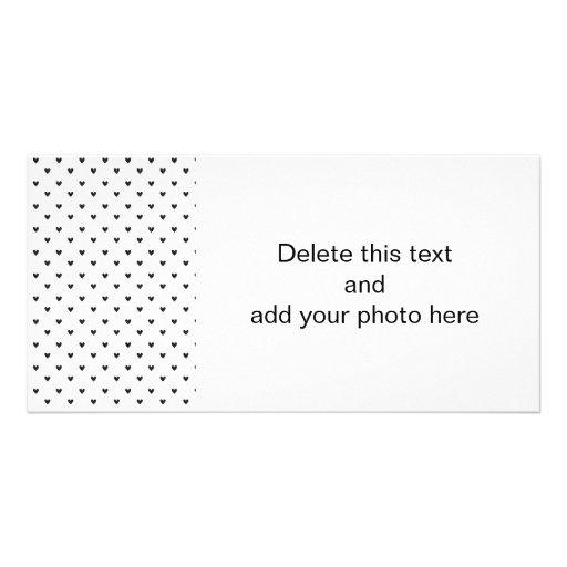 Black Glitter Hearts Pattern Photo Greeting Card