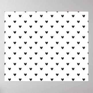 Black Glitter Hearts Pattern Posters