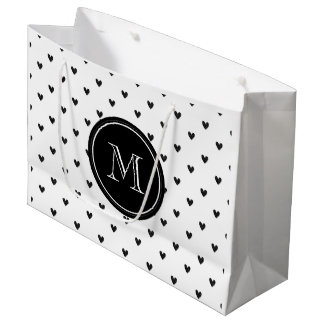Black Glitter Hearts with Monogram Large Gift Bag