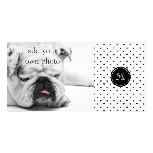 Black Glitter Hearts with Monogram Photo Greeting Card