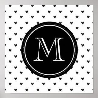 Black Glitter Hearts with Monogram Print
