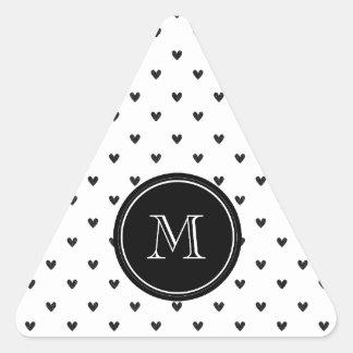 Black Glitter Hearts with Monogram Stickers