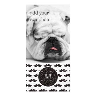 Black Glitter Mustache Pattern Your Monogram Custom Photo Card