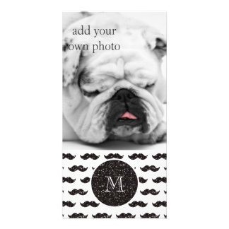 Black Glitter Mustache Pattern Your Monogram Picture Card
