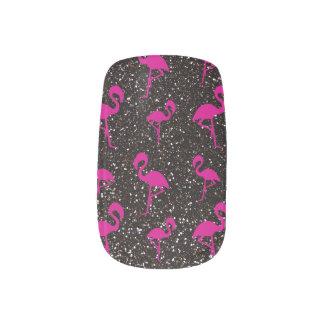 Black glitter pink flamingo minx nail art