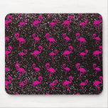 Black glitter pink flamingo mouse pad