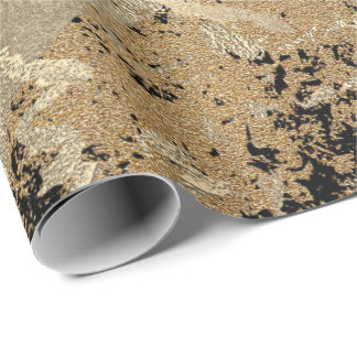 Black Glitter Sepia Gold Marble Stone Metallic Wrapping Paper