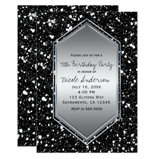 Black Glitter Silver Glam Birthday Party Any Event