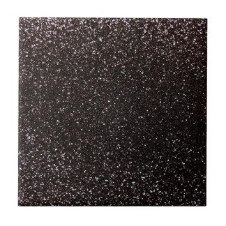 Black glitter small square tile