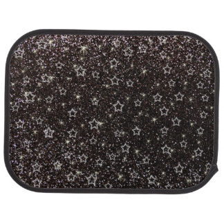 Black glitter stars car mat
