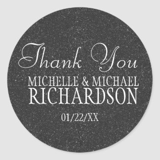 Black Glitter Wedding Favor Round Sticker
