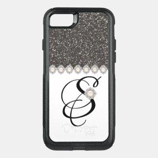 BLACK GLITTER WHITE MONOGRAMME iPHONE 8/7 CASE