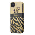 Black Glitter Zebra Print & Jewel Crown iPhone 4 iPhone 4 Covers