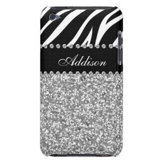 Black Glitter Zebra Print Rhinestone Girly Case