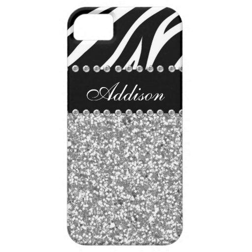 Black Glitter Zebra Print Rhinestone Girly Case iPhone 5 Cases