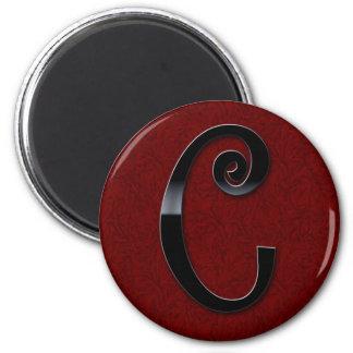 Black Gloss Monogram - C Fridge Magnet
